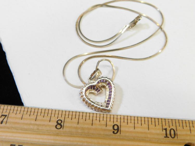 Lot 187: Modern Sterling Silver Amethyst Baguette Cluster Heart Pendant Necklace 7.2G
