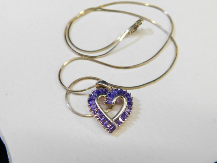 Modern Sterling Silver Amethyst Baguette Cluster Heart Pendant Necklace 7.2G