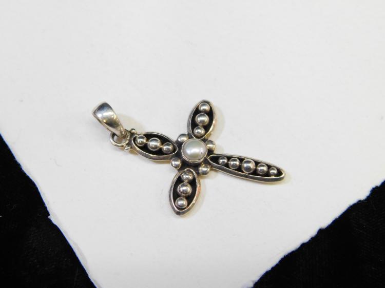 Modern Sterling Silver Pearl Religious Cross Pendant 6G