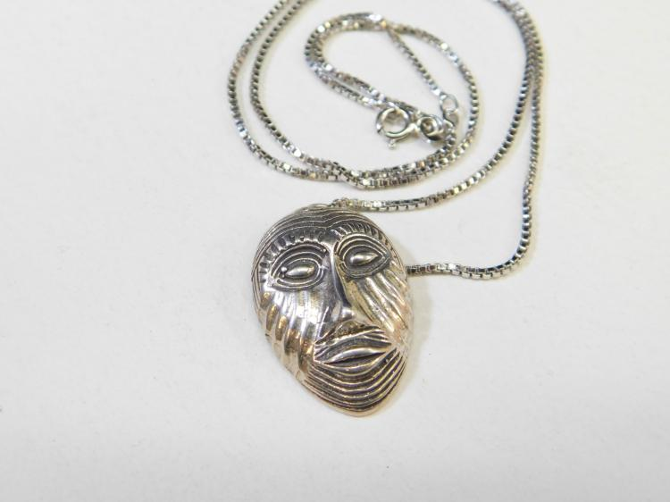 Modern Sterling Silver Tribal Mask Pendant Necklace