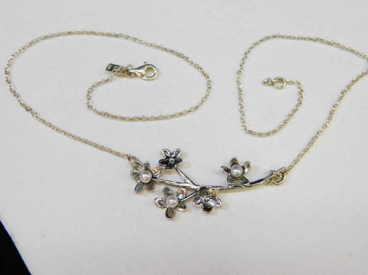 Vintage Sterling Silver Flower Pearl Necklace Signed Pz Israel