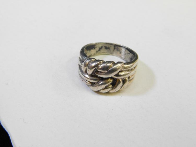 Vintage Sterling Silver Tied Knot Cluster Ring Size 9 9.7G