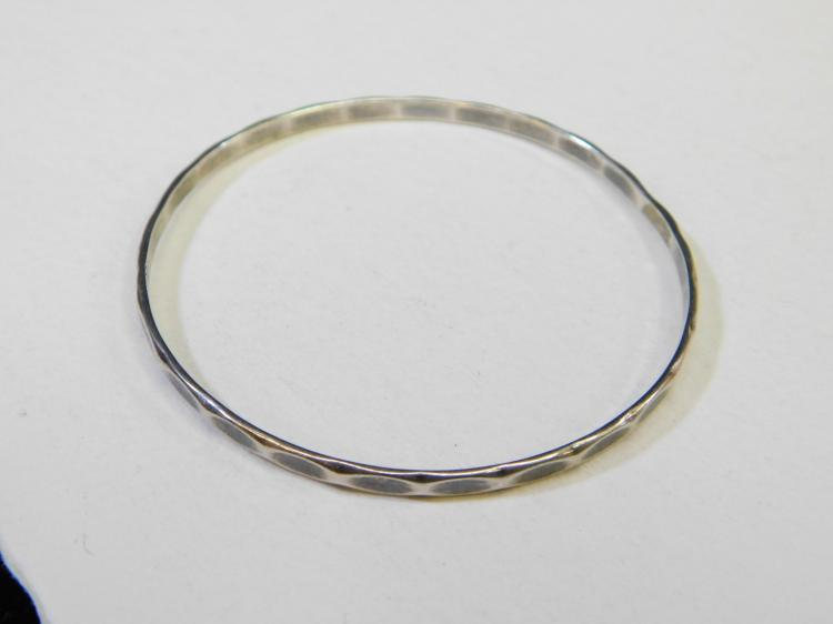 Vintage Hand-Wrought Sterling Silver Number Two Bangle Bracelet