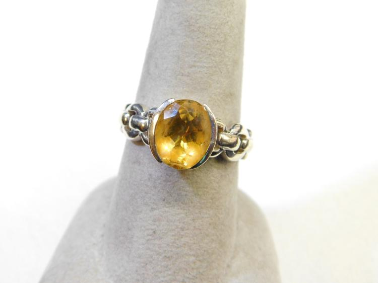 Modern Sterling Silver Yellow Citrine Fashion Ring Size 8 Signed Thailand 4.5G