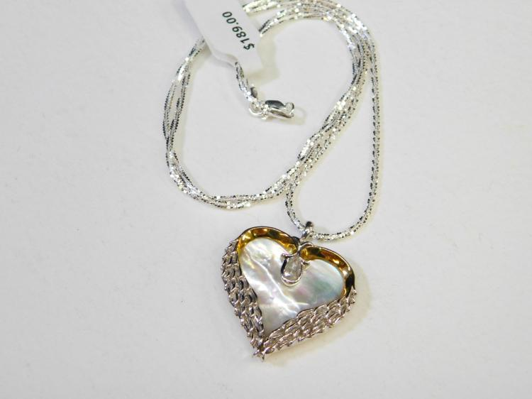 New Sterling Silver Bradford Exchange Mop Clear Cz Heart Pendant Necklace