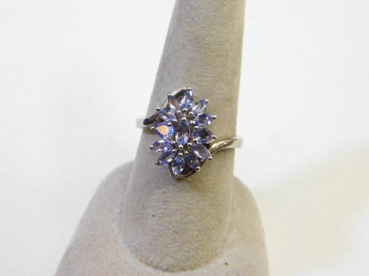 Modern Sterling Silver Purple Iolite Cluster Fashion Ring Size 8