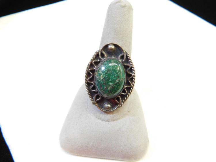 Lot 91: Vintage Mexico Sterling Silver Turquoise Ring Size 9.5 7.1G