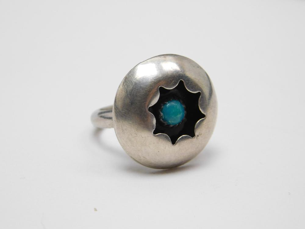 Vintage Native American Sterling Turquoise Shadowbox Ring 5G Sz6.25