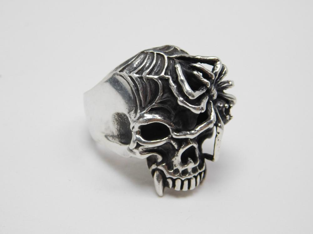 Huge Mens Sterling Fanged Skull With Spider & Web Biker Ring 32G Sz12.5