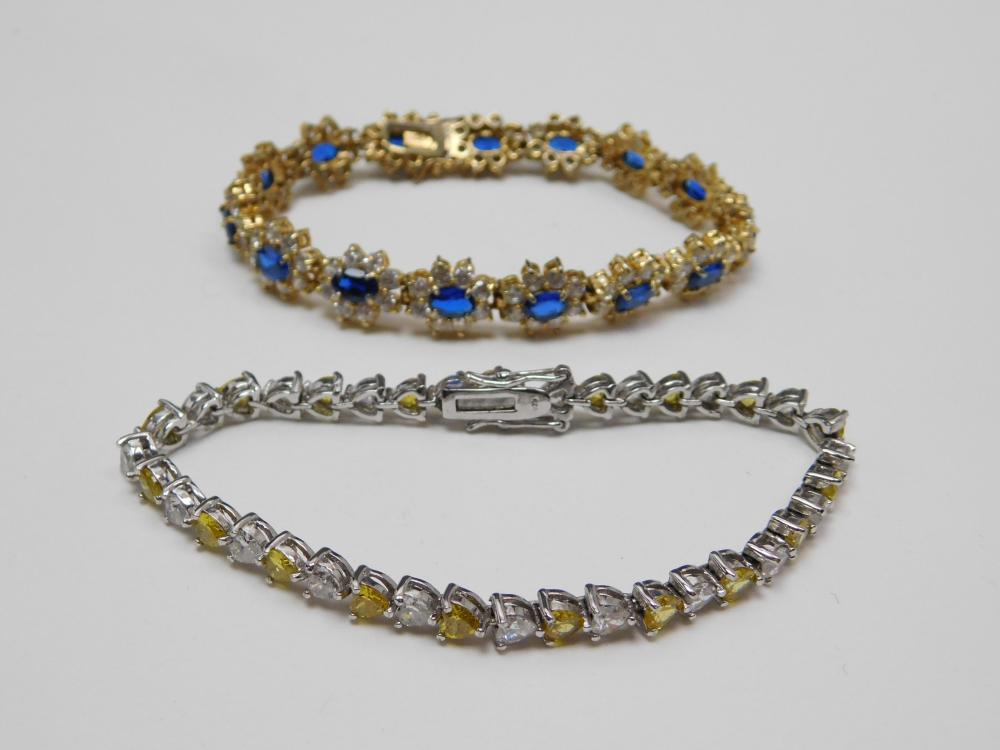 2 Sterling Silver Blue Yellow Clear Cz Cluster & Heart Tennis Bracelets 33G