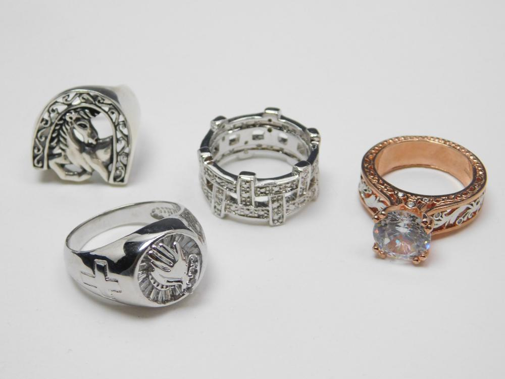 4 Sterling Silver Fashion Rings 30G