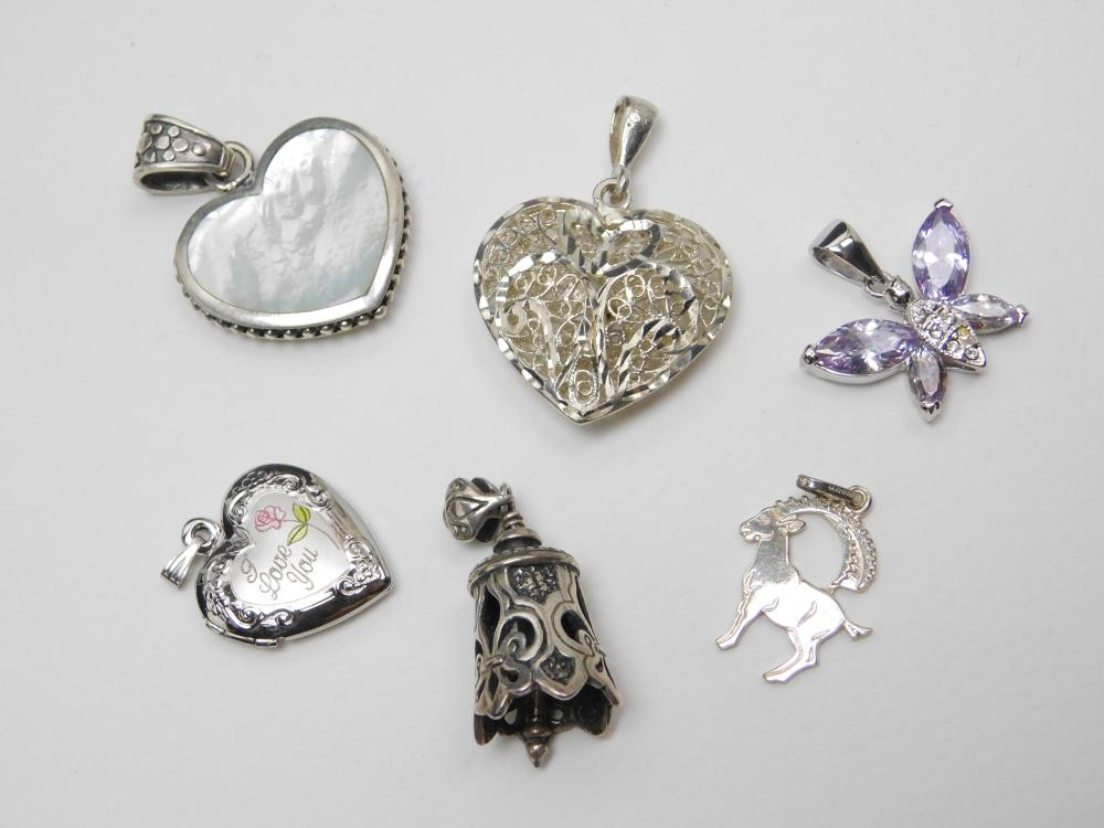 6 Sterling Silver Filigree Heart Locket Bell Butterfly Bighorn Sheep Pendant Lot 33G