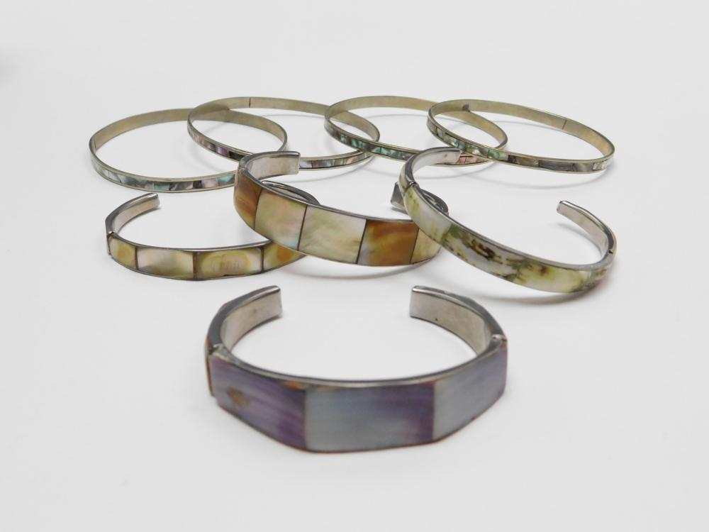 Lot Of 8 Philippines Alpaca Mexico Inlaid Abalone Shell Nickel Cuff & Bangle Bracelets
