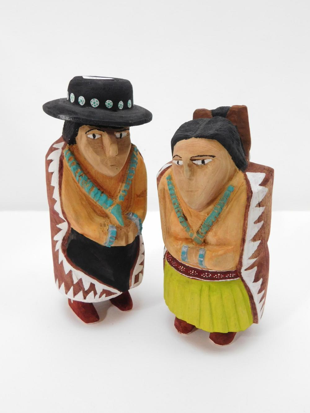 2 Native American Robin Wellito Carved Wooden Navajo Man & Woman