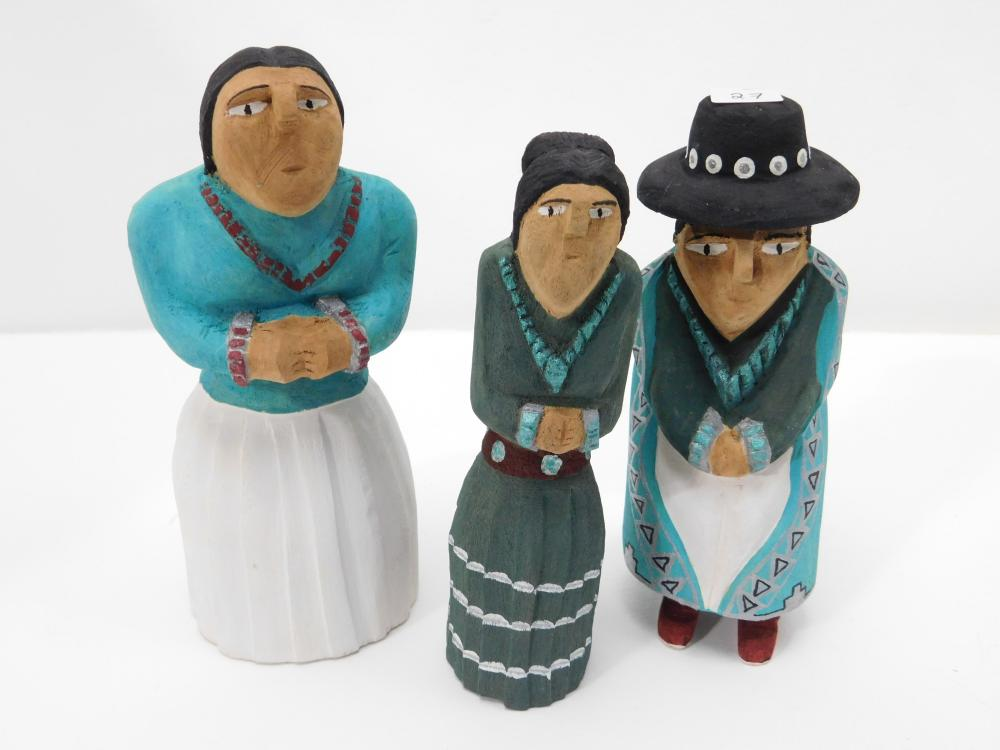 3 Native American Robin Wellito Carved Wooden Navajo Man & 2 Women