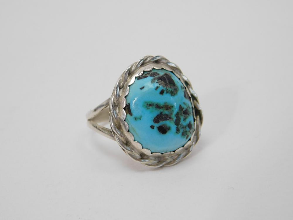 Vintage Native American Navajo Sterling Turquoise Ring 6G Sz7.5