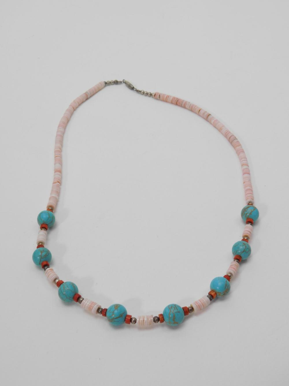 Vintage Native American Navajo Pink Shell Coral & Turquoise Bead Necklace