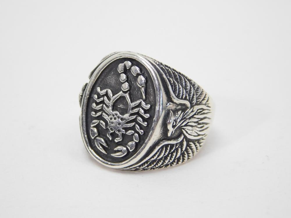 Like New Sterling Silver Scorpion Eagle Mens Ring 7G Sz9