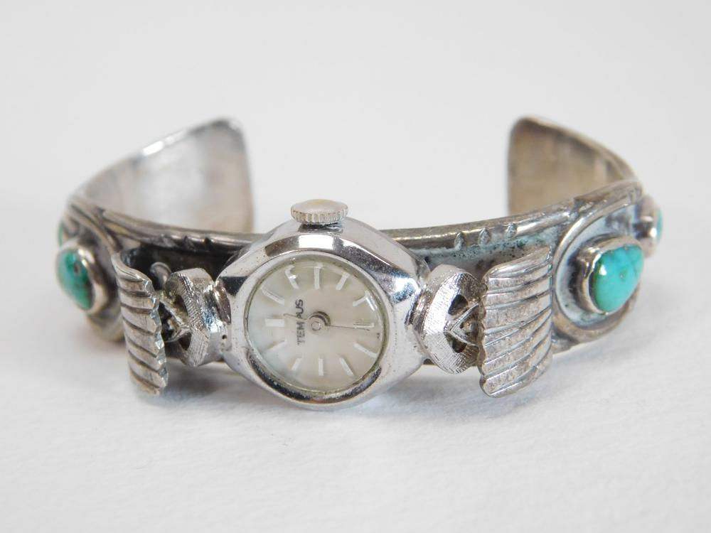 Vintage Native American Navajo Sterling Turquoise Ladies Watch Cuff Bracelet 37G