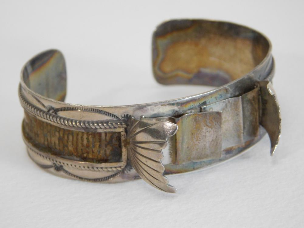 Vintage Native American Navajo Sterling Silver Cuff Bracelet Watchband For Repair 32G