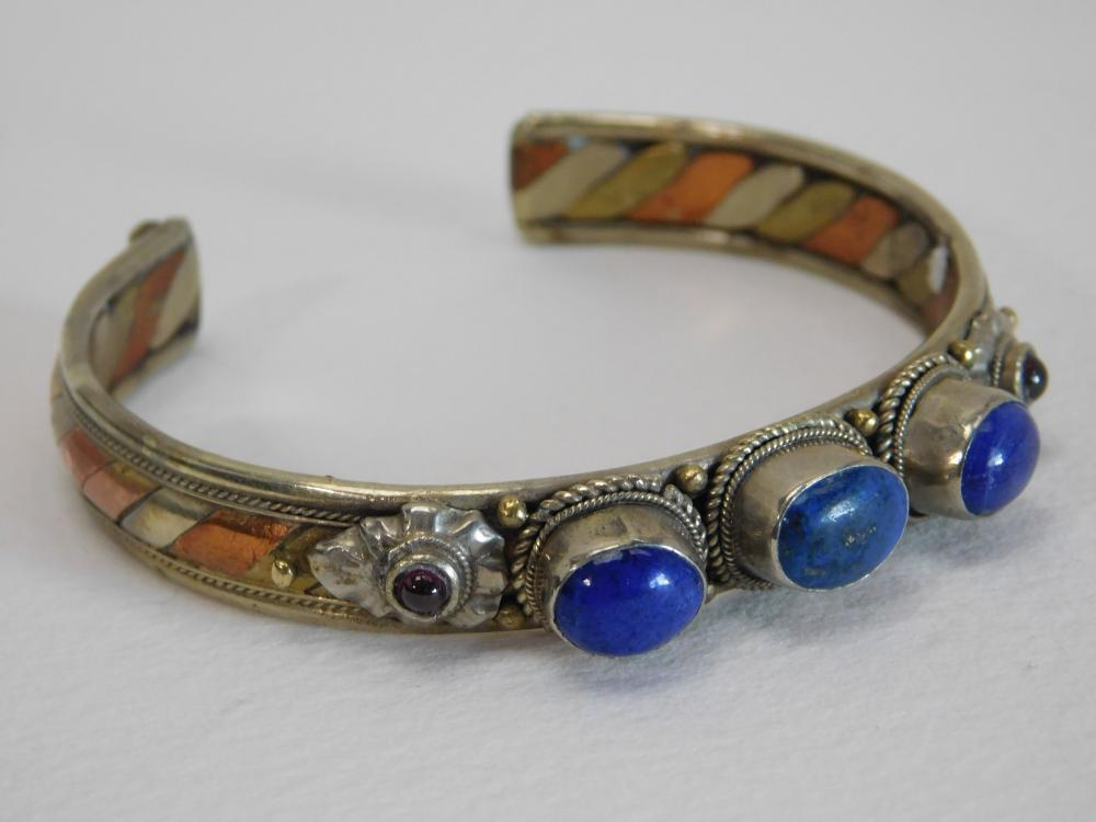 Vintage Thailand Nickel Silver Copper Brass Mixed Metals Lapis Garnet Cuff Bracelet 37G
