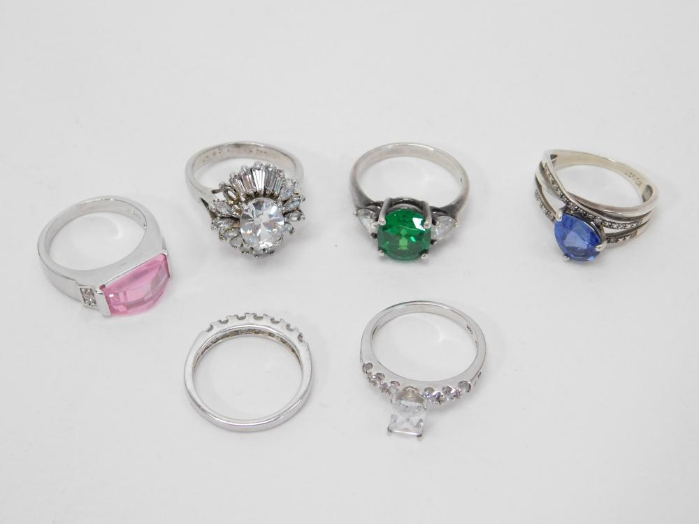 6 Sterling Silver Fashion Cocktail Rings 23G