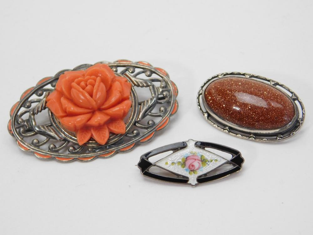 3 Vintage Sterling Silver Flower Goldstone & Enamel Brooches 18G