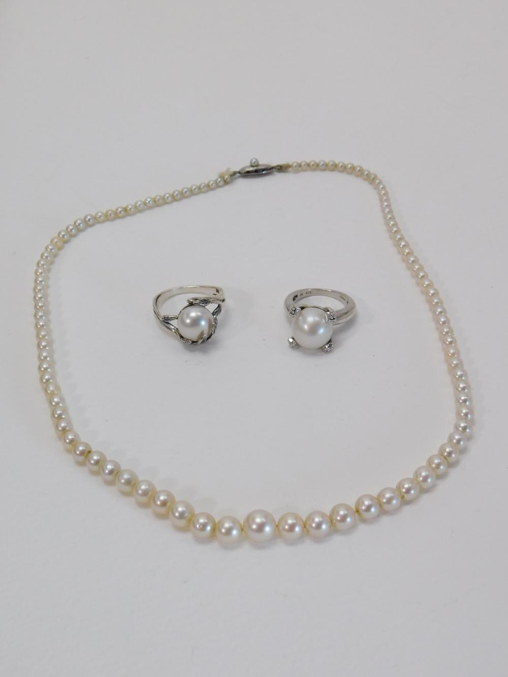 Vintage & Modern Sterling Pearl Necklace & 2 Rings 28G