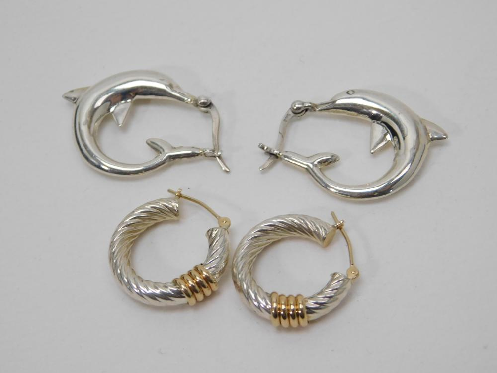 14K Gold & Sterling Hoop & Dolphin Hoop Earrings 9G