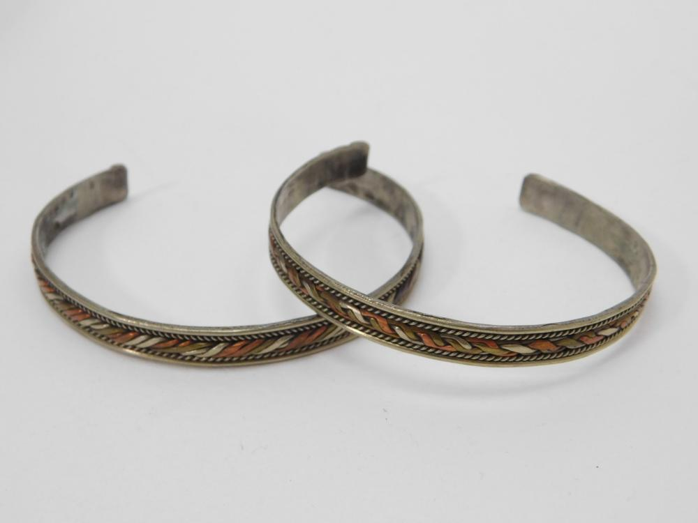 2 Nickel Silver Copper Brass Mixed Metals Cuff Bracelets 23G