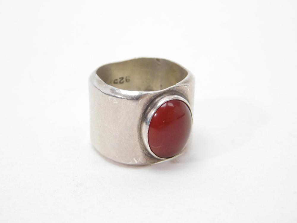 Vintage Mexico Wide Band Sterling Carnelian Ring 16G Sz6