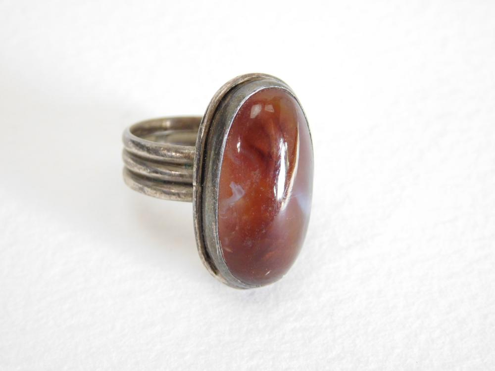 Vintage Native American Or Mexico Fire Agate Ring 7G Sz4.25