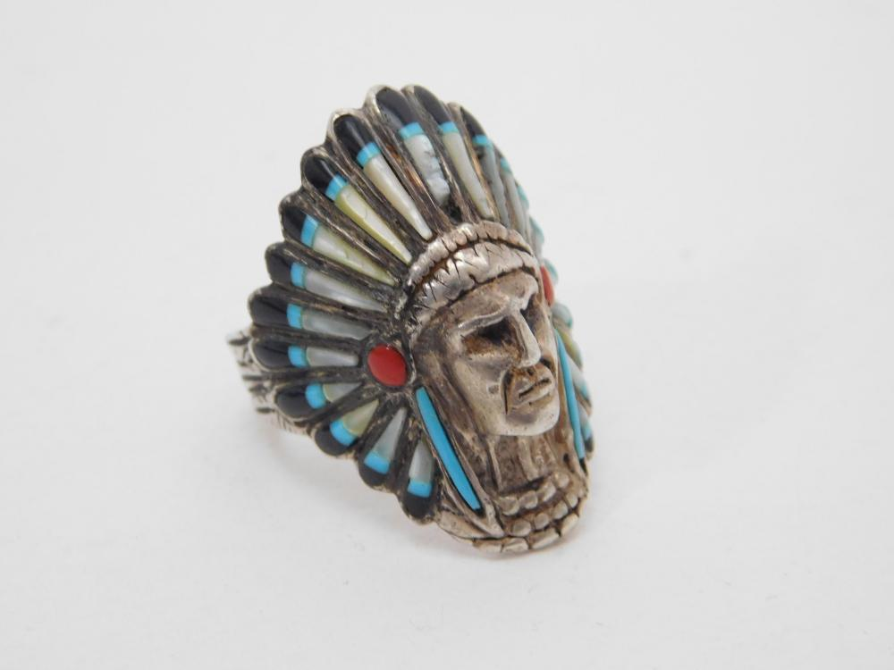 Vintage Native American Sterling Silver Chief Headdress Ring 12G Sz9