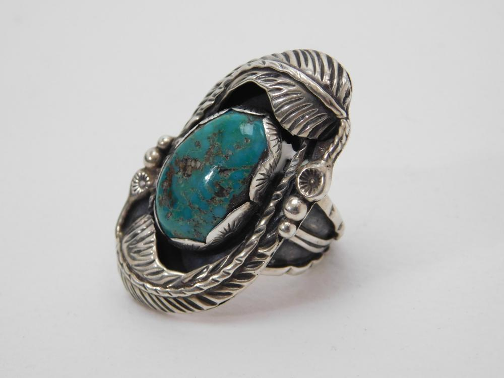Vintage Mens Native American Navajo Sterling Turquoise Feather Cut Band Ring 20G Sz10