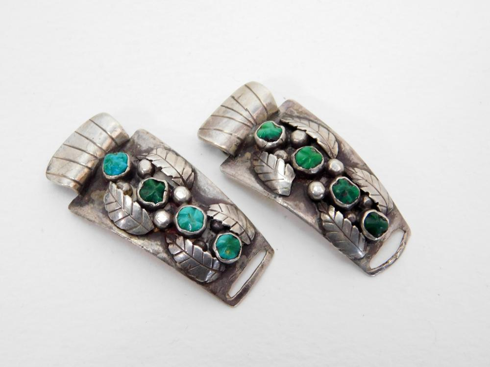 Vintage Native American Navajo Sterling Turquoise Watch Tips 20G