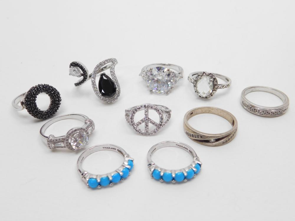 Lot Of 10 Sterling Silver Mixed Stone & Size Rings 40G