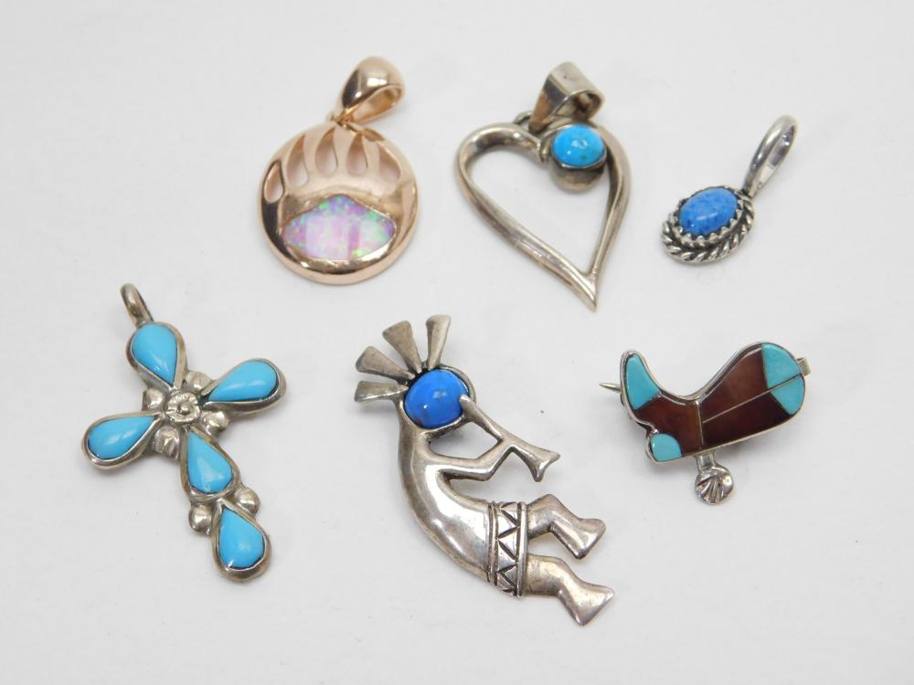 Lot Of 6 Native American Sterling Turquoise Opal Shell Pendants & Boot Brooch 13G