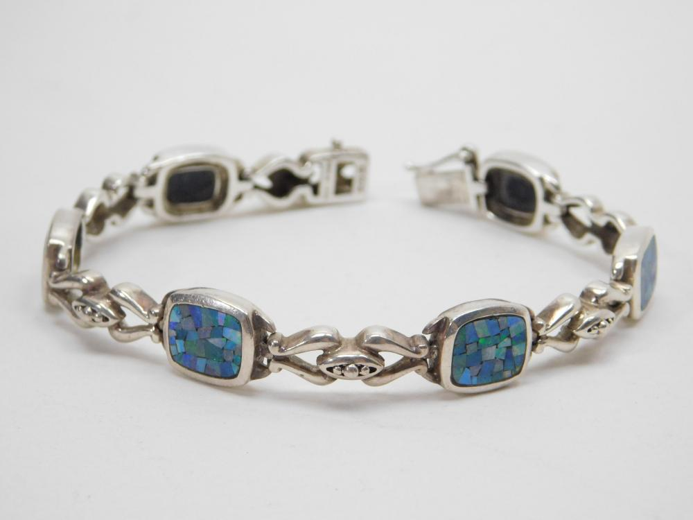 Sterling Silver Inlaid Opal Mosaic Panel Bracelet 23G