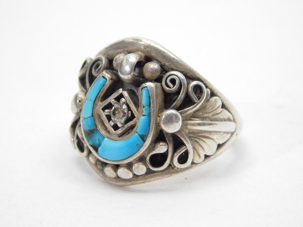 Vintage Native American Sterling Silver Turquoise Horseshoe Ring 10G Sz9
