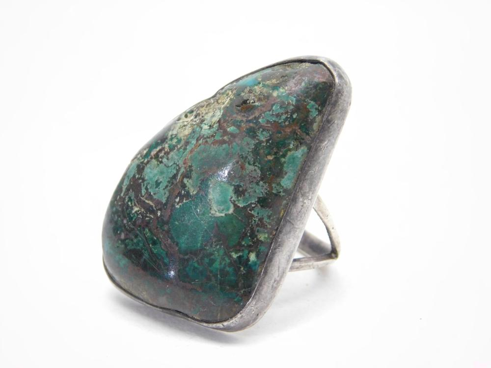 Vintage Native American Navajo Sterling Large Chrysocolla Ring 16G Sz8.25