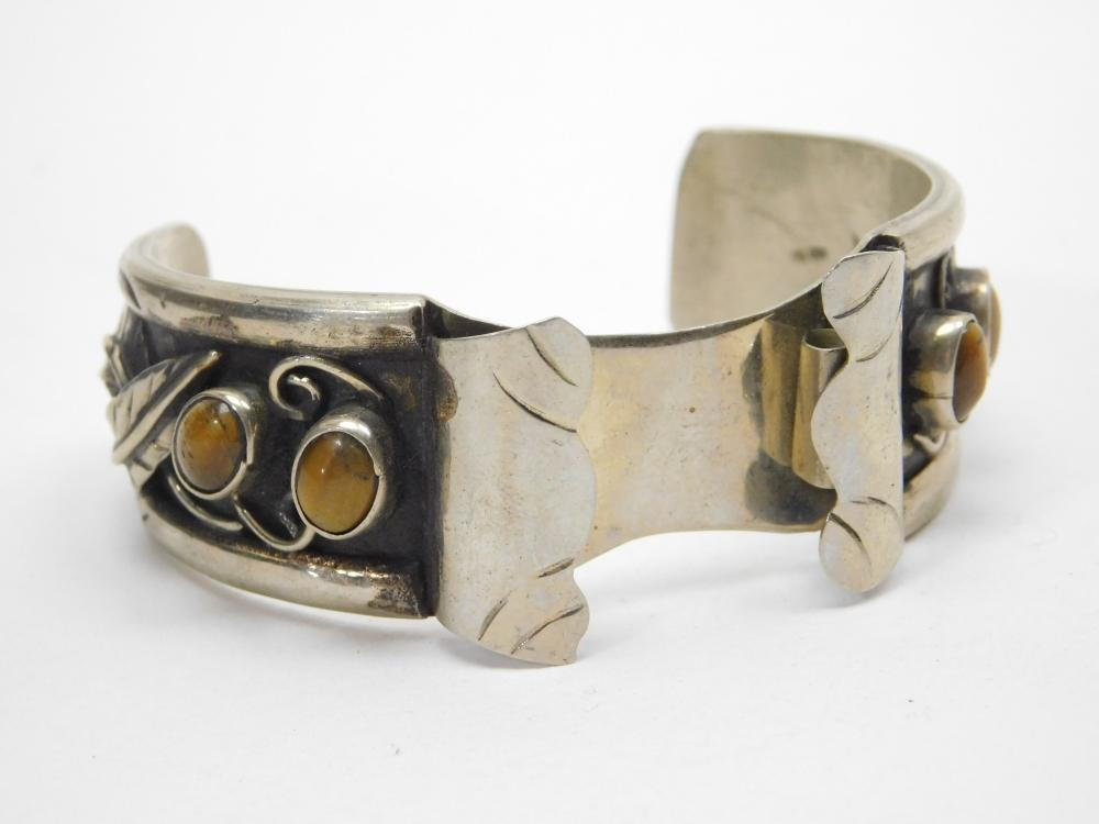 Vintage Native American Nickel Silver Tigers Eye Watch Cuff Bracelet 38G