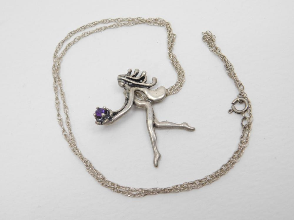Sterling Silver Fairy Holding Amethyst Crystal Pendant Necklace 6G