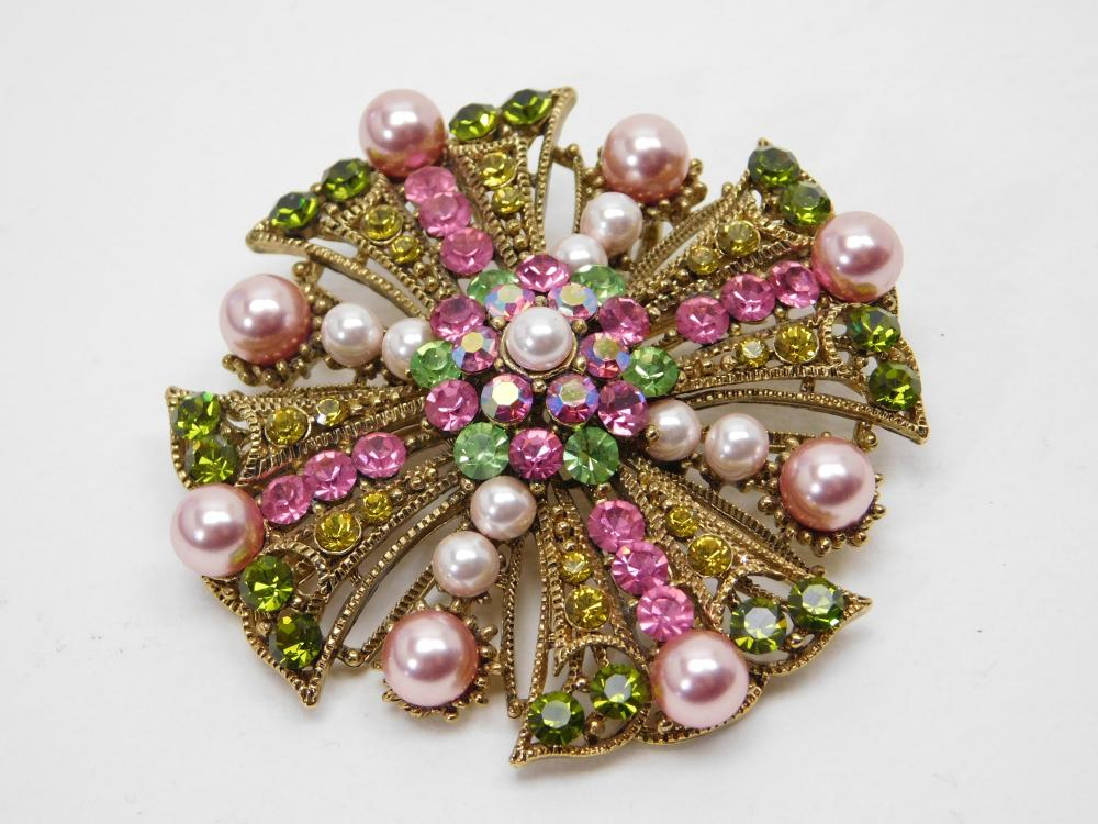 Pink Green Gold Yellow Rhinestone Costume Jewelry Brooch Pendant