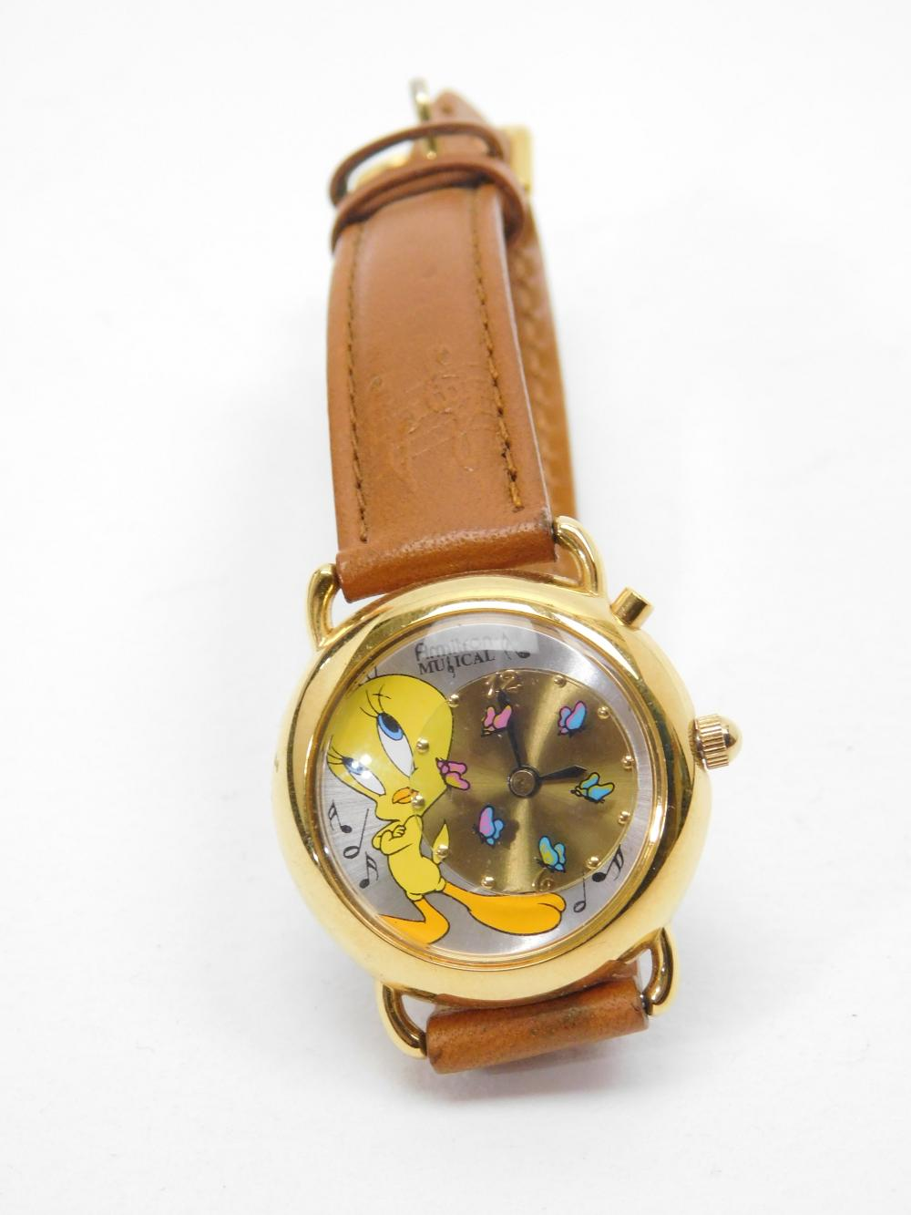 1998 Warner Bros Armitron Musical Tweety Bird Wrist Watch