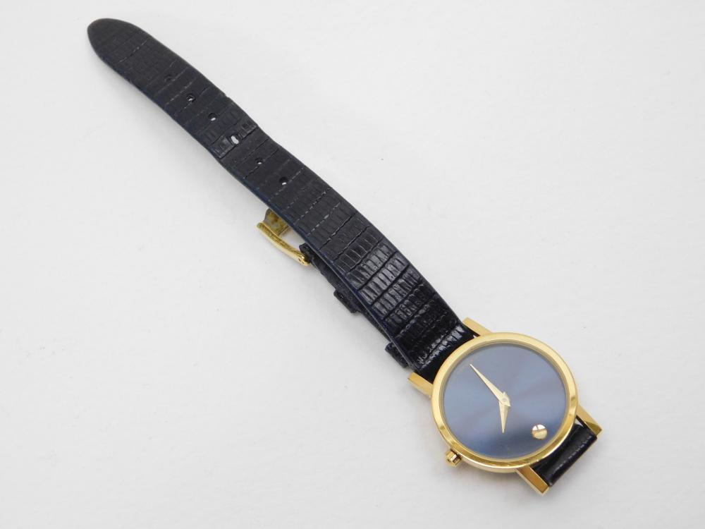 Ladies Movado Goldtone Blue Face Wrist Watch
