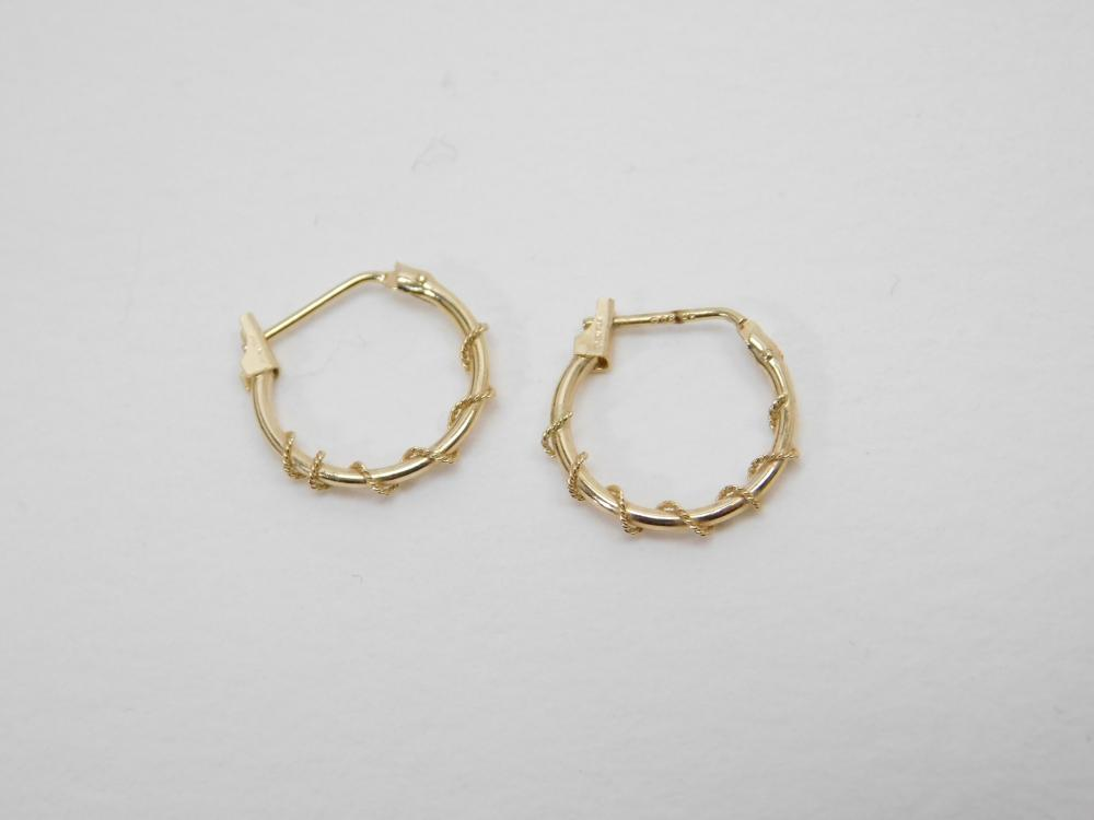 10K Gold Wire Wrapped Hoop Earrings 0.43G