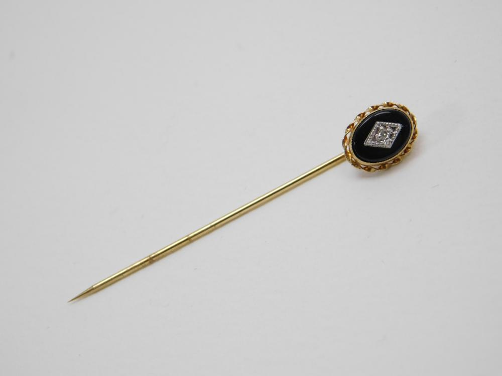 Vintage Black Onyx Diamond 14K Gold Hat Or Lapel Pin 0.92G