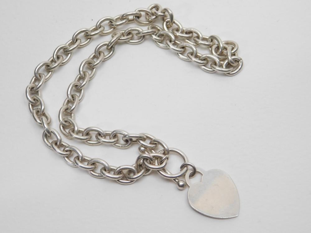 "Italian Sterling Silver Heart Tag Large Link 16"" Choker Necklace 49.8G"