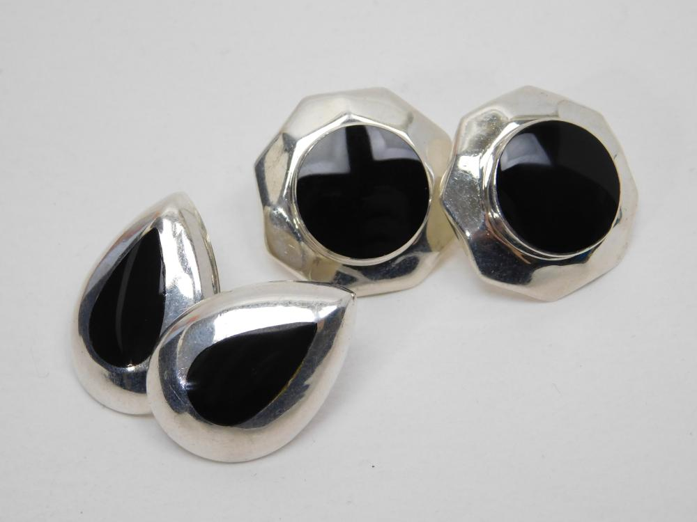 2Pr Vintage Mexico Sterling Inlaid Black Onyx Post Earrings 17G