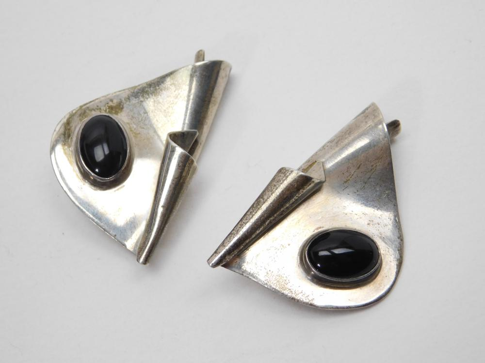 Vintage Celia Sebiri Sterling Black Onyx Modernist Clip On Earrings 24G